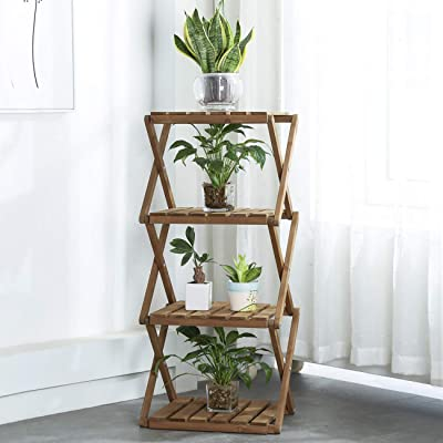 Sunnyglade 4-Tier Foldable Flower Rack Plant Stand Wood Shelf Multipurpose Utility Storage Rack Books Picture Frames Shelves for Yard Garden Patio Balcony Bedroom : Garden & Outdoor