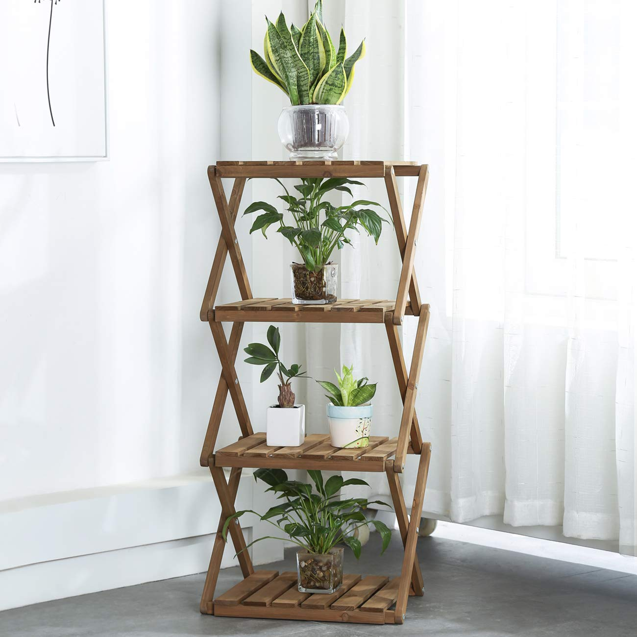Sunnyglade 4-Tier Foldable Flower Rack Plant Stand Wood Shelf Multipurpose Utility Storage Rack Books Picture Frames Shelves for Yard Garden Patio Balcony Bedroom by Sunnyglade