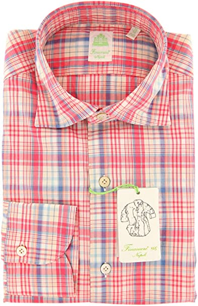 Finamore Napoli Plaid Button Down Spread Collar Cotton Extra Slim Fit Dress Shirt