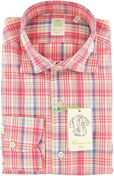 Finamore Napoli Plaid Button Down Spread Collar Cotton Slim Fit Dress Shirt