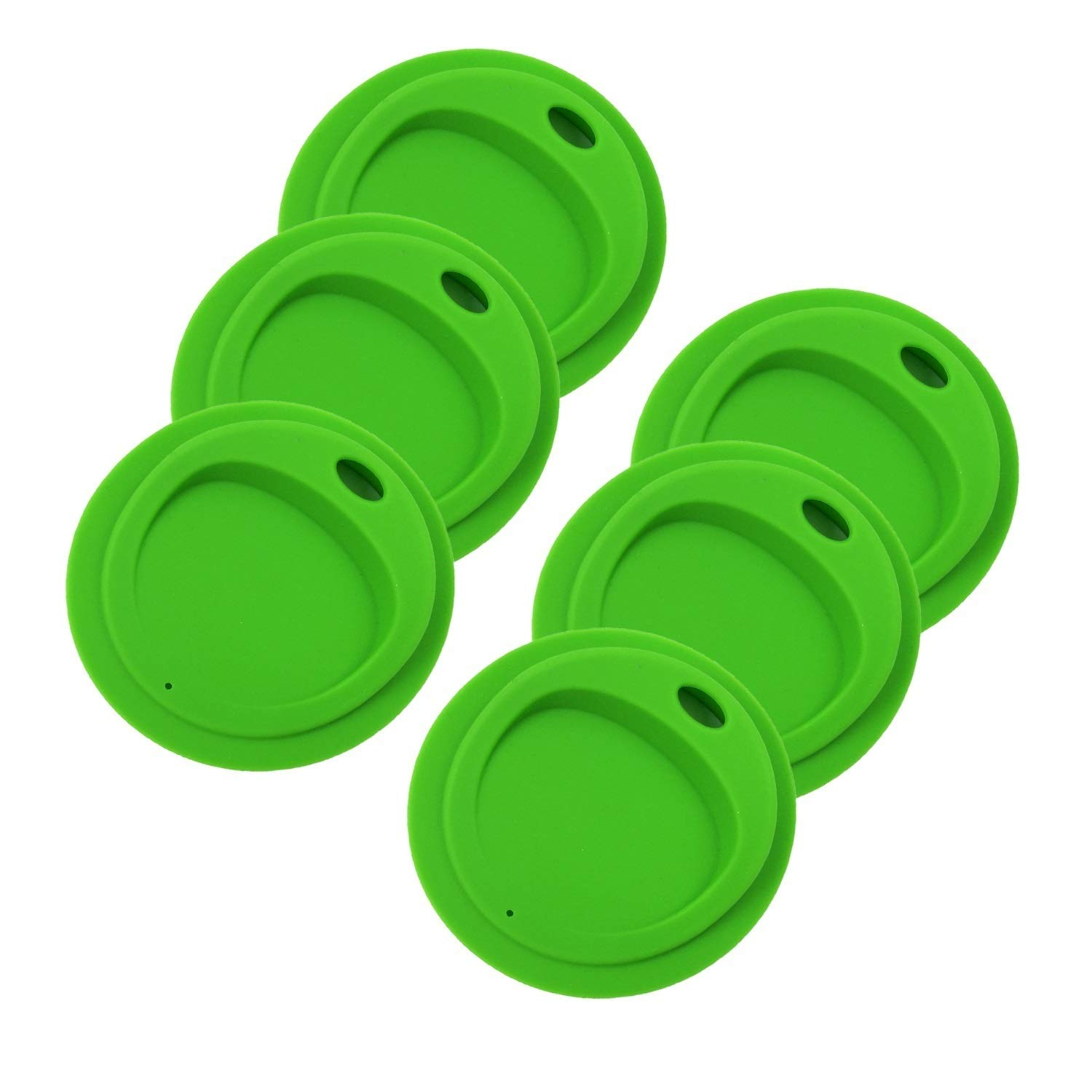 THINKCHANCES Reusable Food Grade and BPA Free Silicone Oval Straw Hole Sip Coffee Juice Drinking Lid for Mason, Ball, Canning Jars (Wide Mouth, Green),6 Pack
