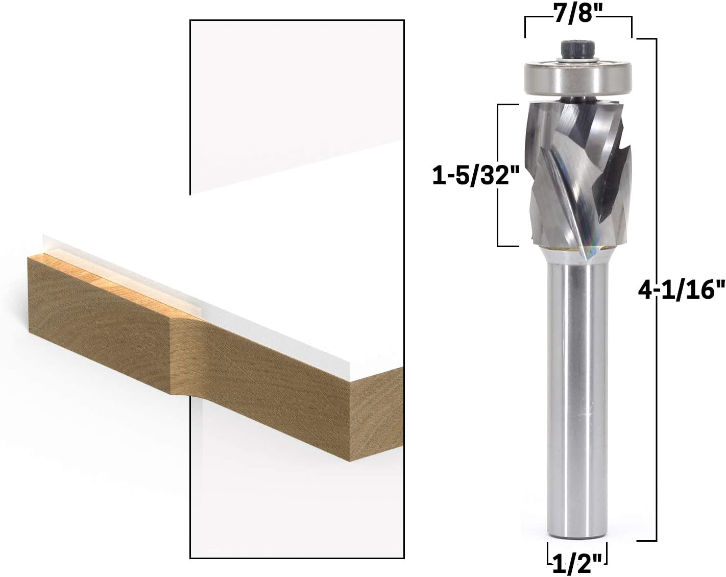 Yonico 33202 Top /& Bottom Bearing Ultra-Performance Compression Flush Trim Router Bit 1//2-Inch Shank
