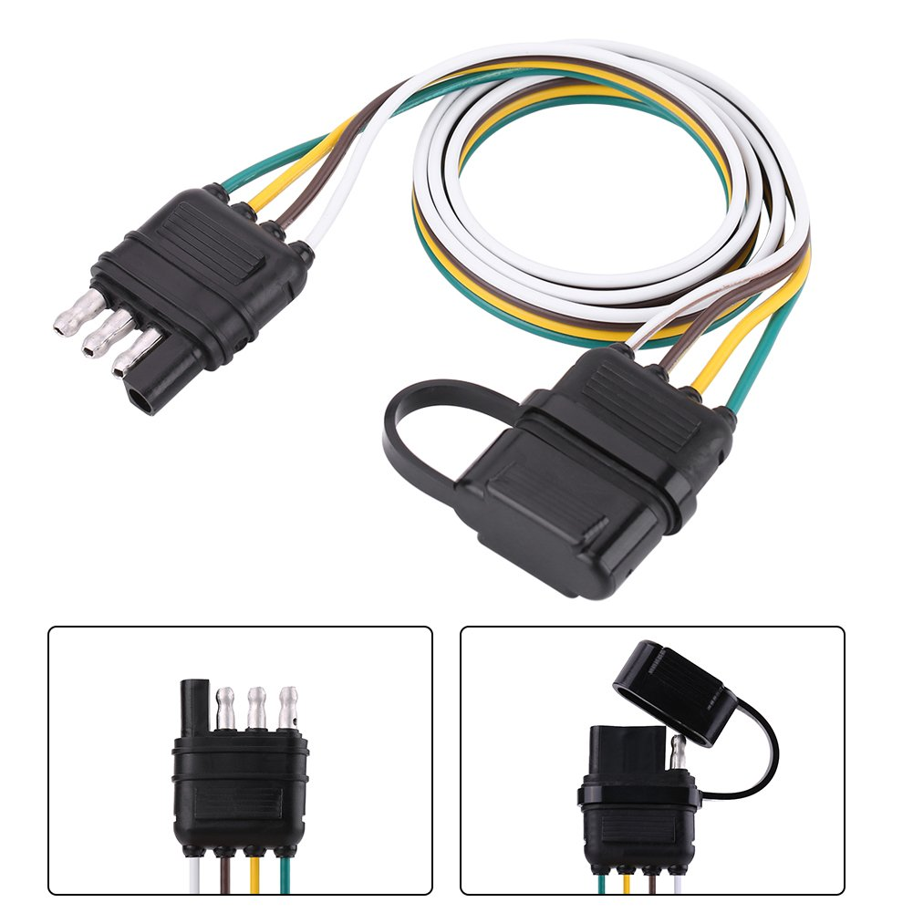 Amazon.com: Qiilu 6-24V 4 Pin Flat Trailer Plug Socket Wiring ... on generator socket wiring, accessories socket wiring, house socket wiring, fuel pump wiring, cigarette lighter wiring, car socket wiring,