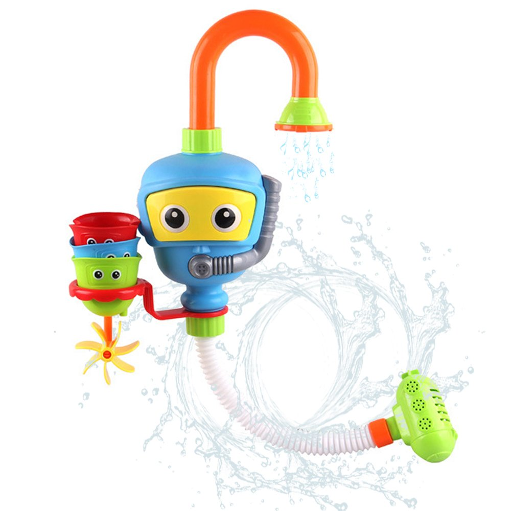 Toddlers Bathtub Water Game Toy - 3 Stackable and Nesting Cups, Submarines and Spout by Hanmun(Blue or Yellow in Radom)