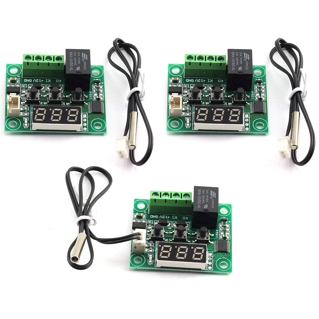 DZS Elec 3pcs XH-W1209 Micro Temperature Controller Switch DC 12V LED Digital Heating/Cooling Temp Thermostat Relay Module -50 to 110 Degree 10A with Waterproof Sensor Probe