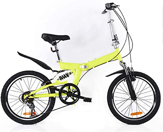 DPGPLP Cambio De Bicicleta Plegable De 20 Pulgadas - Bicicletas Masculinas Y Femeninas - Bicicleta De Montaña para Niños Adultos con Amortiguación De Acero Al Carbono,Amarillo: Amazon.es: Hogar