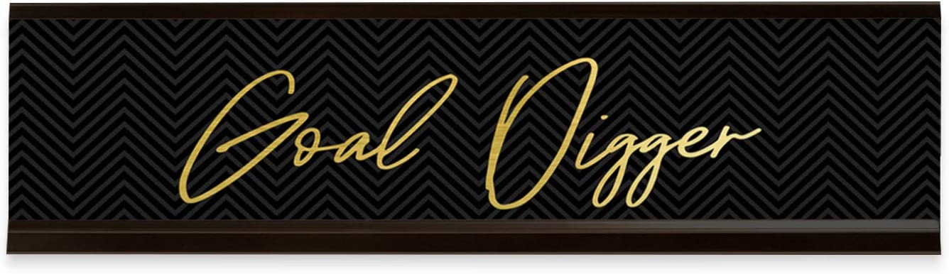 "Motivational Goal Digger Desk Plate / 8"" x 2"" Goal Digger Nameplate With Black Holder/Faux Gold And Black Desk Sign"