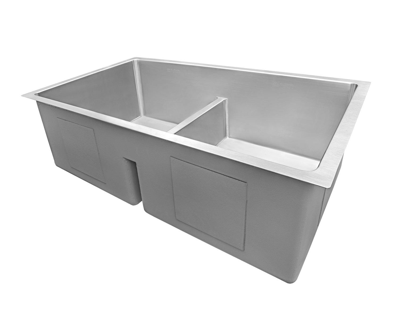 Ruvati 32-inch Low-Divide Undermount Tight Radius 50/50 Double Bowl 16 Gauge Stainless Steel Kitchen Sink - RVH7411 by Ruvati (Image #1)