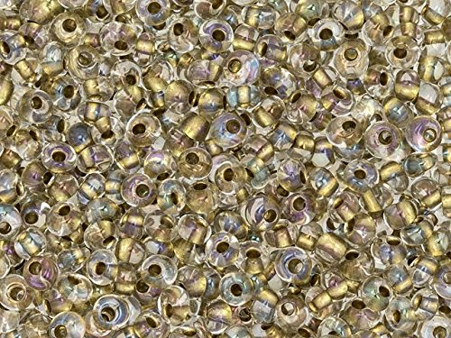 TOHO 3mm Magatama Seed Bead Inside-Color Crystal/24K Gold-Lined, 2.5-Inch Tube