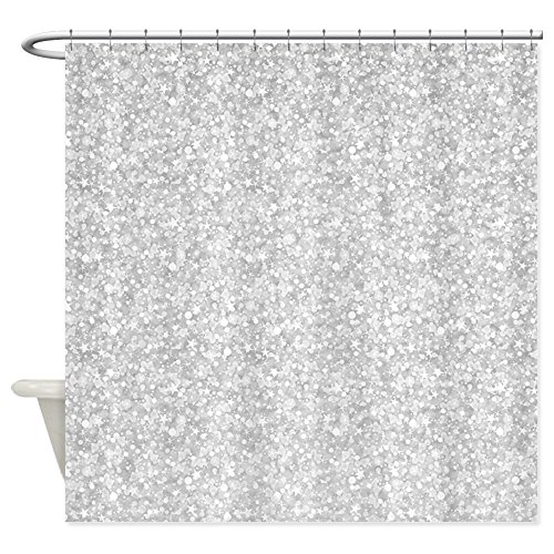 CafePress - Silver Gray Glitter Sparkles - Shower Curtain (Shower Curtain With Sparkles)