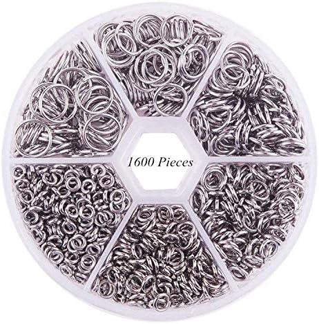 Febbya Anillas Abiertas,1600 Piezas Anillos de Salto Redondo Solo Aro Abra los Anillos para Collar Pulsera Joyería Plata Hierro 4-10mm