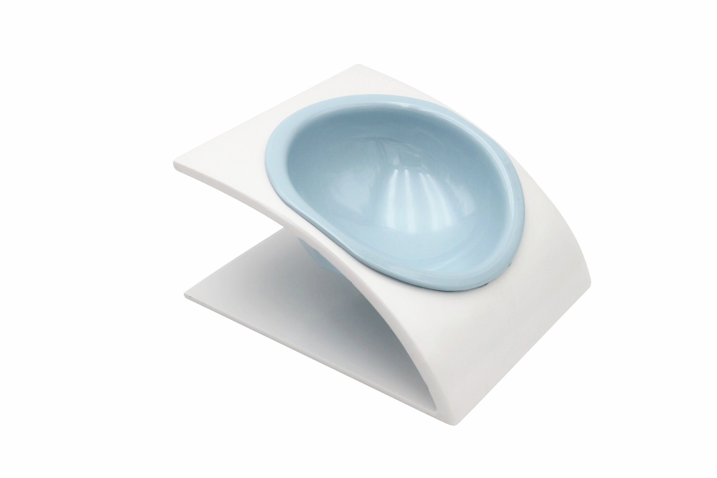 Elevated Cat Dog Bowls Separable Pet Food Feeder Raised Pet Bowls with Stand for Cats, Small Dogs-White&Blue