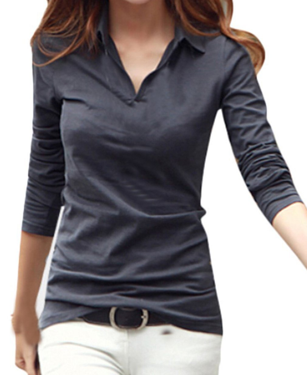 Smartprix Womens Long Sleeve Polo Shirts Cotton V Neck Solid Color Tops Tshirt X-Large Grey
