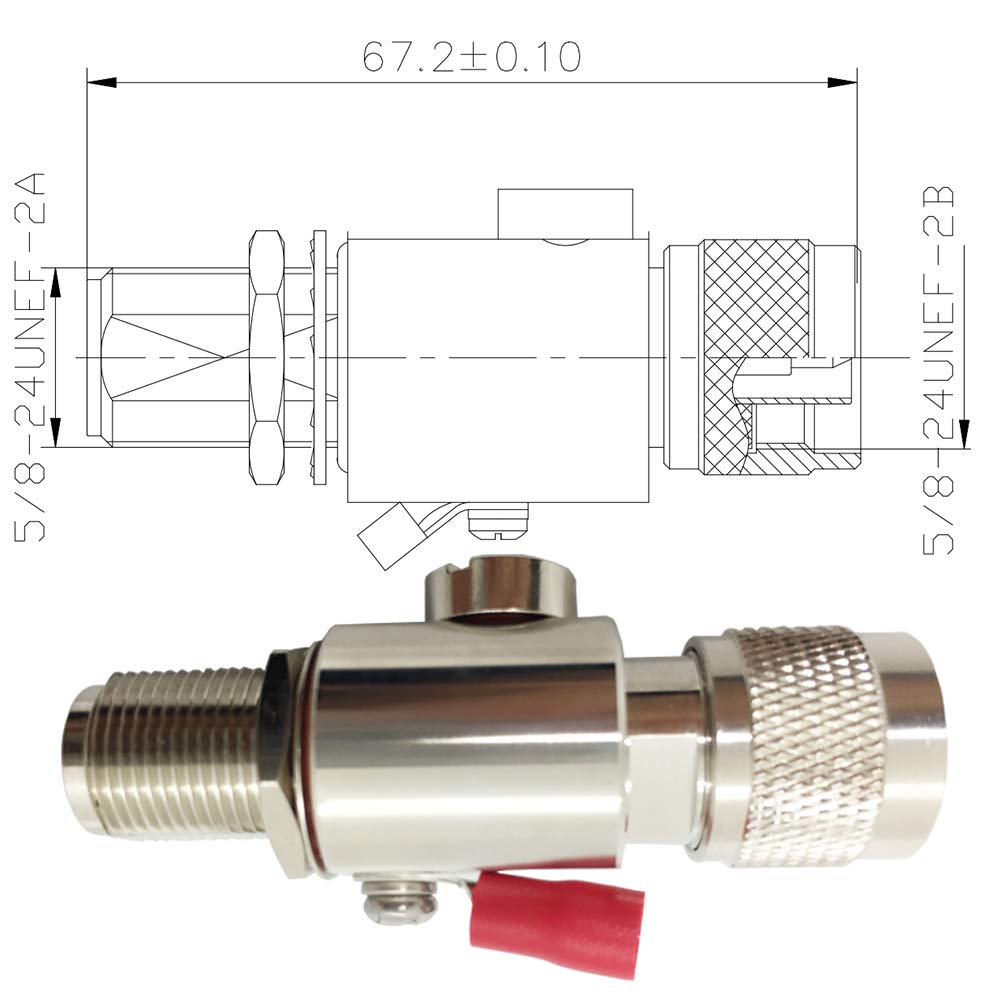 N-Male//N-Female LTE,GPS Ham Other Outside Antennas Coaxial N Type Lightning Arrestor 0 to 6 GHz 900MHz 2.4GHz //5GHz Wi-Fi 4G 50ohm,Protects 3G