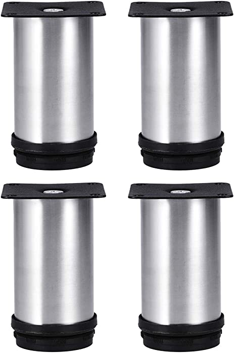 Tinksky Metal Furniture Legs Kitchen Adjustable Feet Round Furniture Legs- 4pcs(Silver)