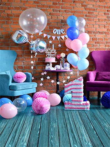 Aaloolaa 4x5FT Vinyl Photography Backgrounds Photo Backdrop Baby Newborn Kid Child Portrait Birthday Party Decoration Colorful Balloon Chair Brick Wall Wood Floor Props Video Shooting Studio 1.2x1.5m
