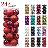 "KI Store 24ct Christmas Ball Ornaments Shatterproof Christmas Decorations Tree Balls SMALL for Holiday Wedding Party Decoration, Tree Ornaments Hooks included 1.57"" (40mm Red)"