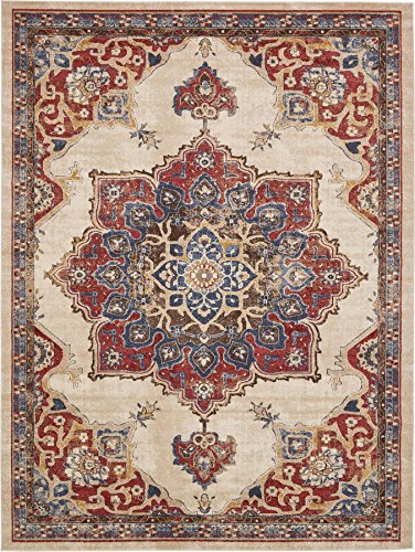 Cheap Traditional Persian Rugs Vintage Design Inspired Overdyed Fancy Cream 8′ 11 x 12′ FT (274cm x 366cm) St. James Area Rug