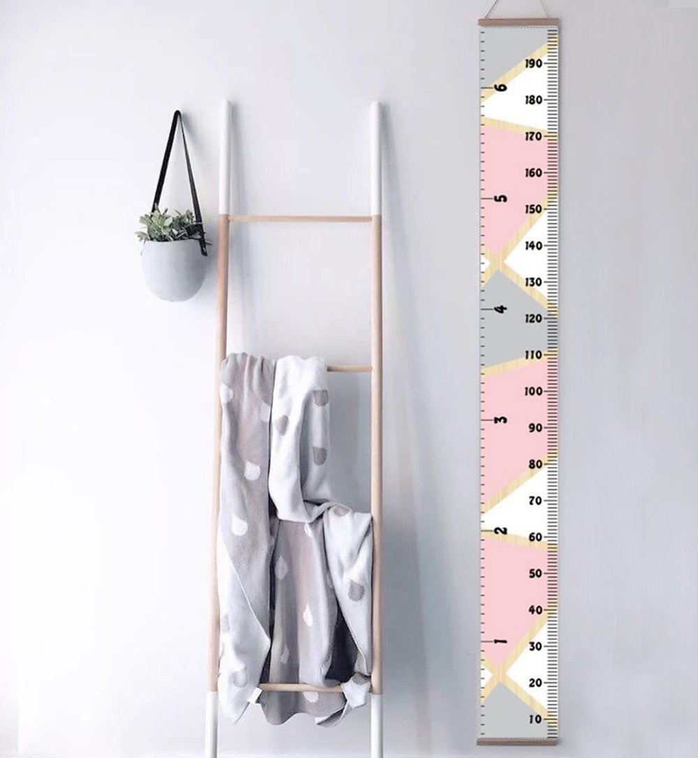 Ymwave Baby Growth Chart Portable Roll-up Children's Height Hanging Measure Chart Wall Decor for Kids Bedroom Nursery 79x7.9