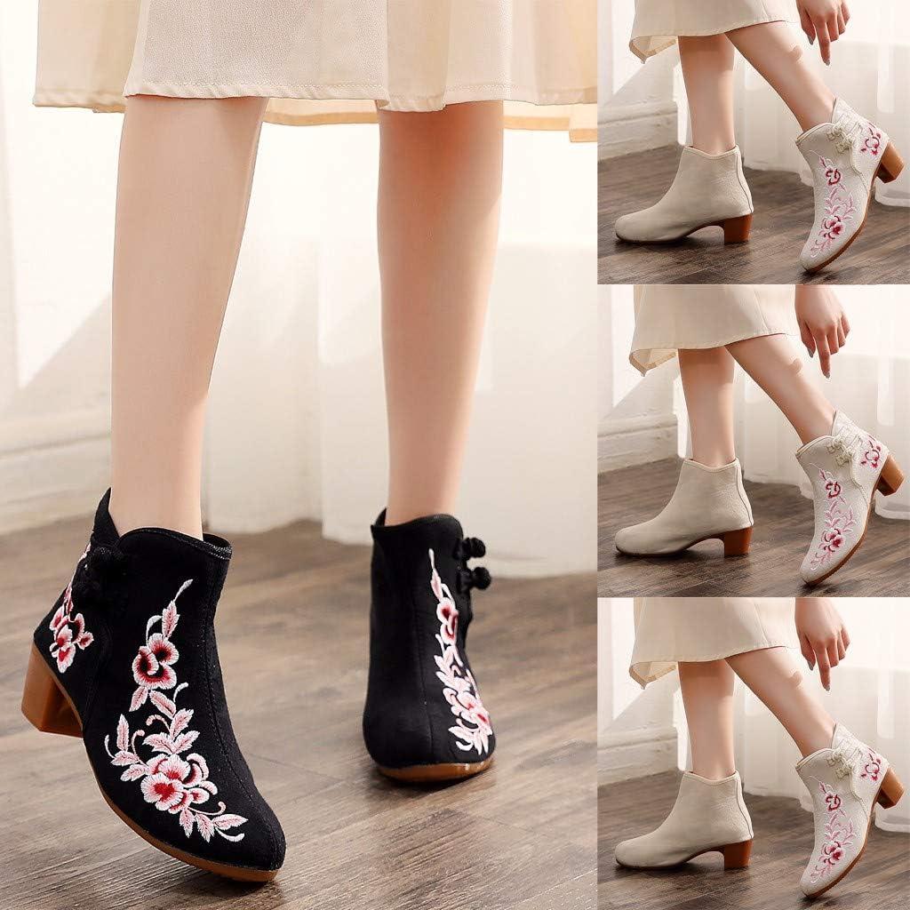 Kauneus Womens Embroidery Flower Splendid Cloth Boots Charming Unique Ethnic Style Low Heel Elegant Short Boots