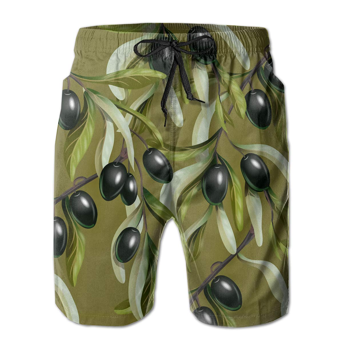 SARA NELL Mens Swim Trunks Black Olives Branches Surfing Beach Board Shorts Swimwear