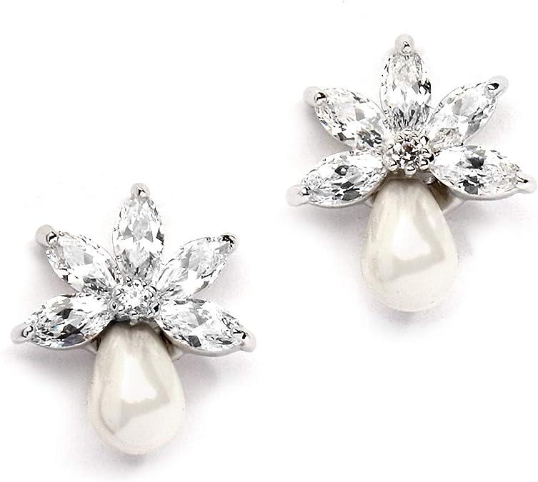 JANE  Pearl Drop Wedding Earrings,Rose Gold Cubic Zirconia Bride Earrings,Wedding Crystal Drop Earrings,CZ simple bridesmaid earrings