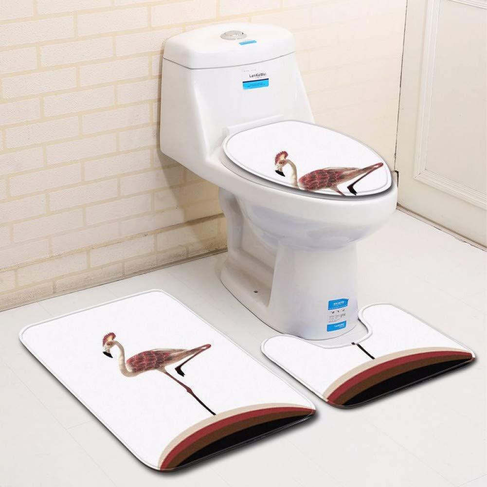 ZHENGXIANGA Creative Animal Bathroom Toilet Three-Piece Floor Mat Door Mat Bathroom Carpet Mat by ZHENGXIANGA