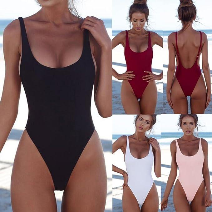 01cb21664c4 Sansee Women's Swimwear Bikini - One Piece High Cut Push-Up Padded Bathing  Suit Backless Beachwear: Amazon.co.uk: Clothing