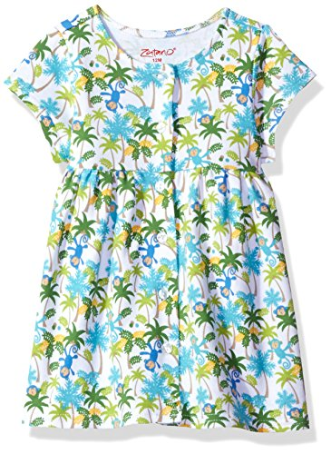 Zutano Baby Girls' Classic Short Sleeve Button Dress, Monkey Jungle, 24M (18-24 Months)