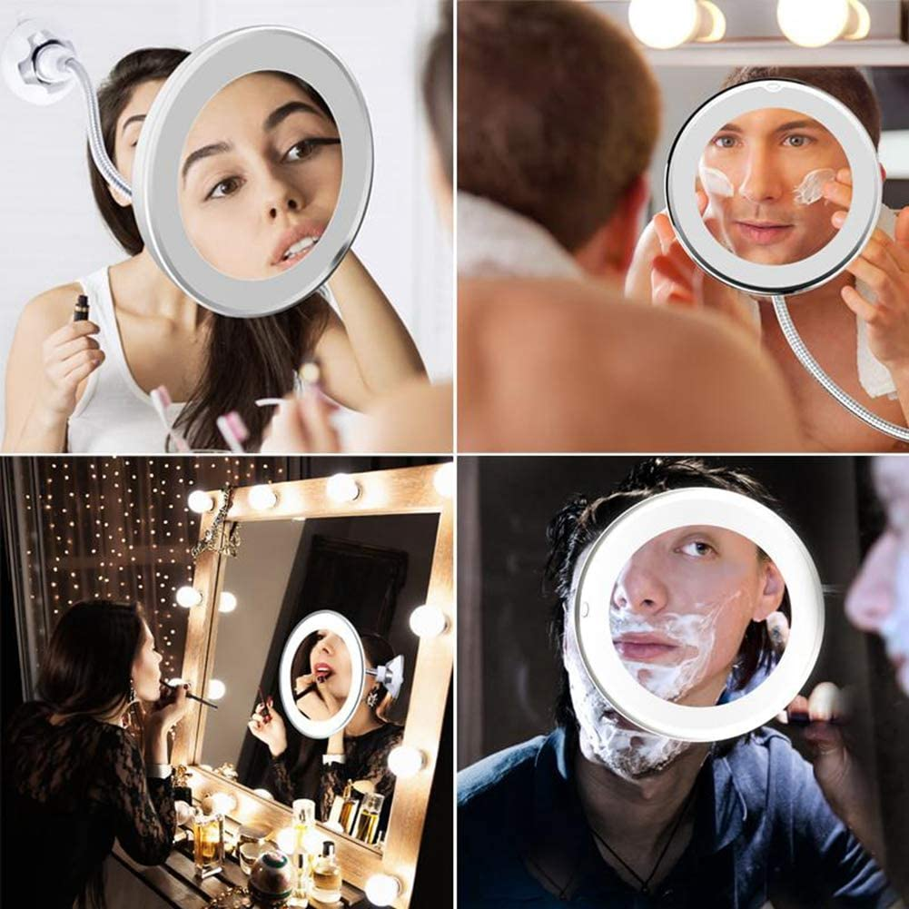 JapanAmStore 360 Degree Rotation 10X Magnifying Makeup Mirror Folding Bathroom Vanity Mirror with LED Light Strong Suction Cup