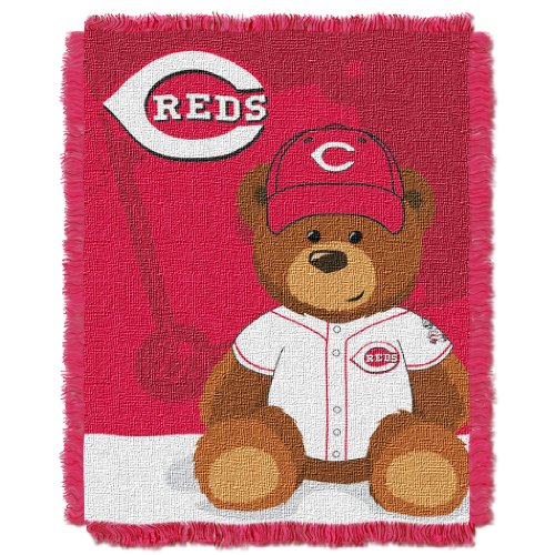 MLB Cincinnati Reds Field Bear Woven Jacquard Baby Throw, 36