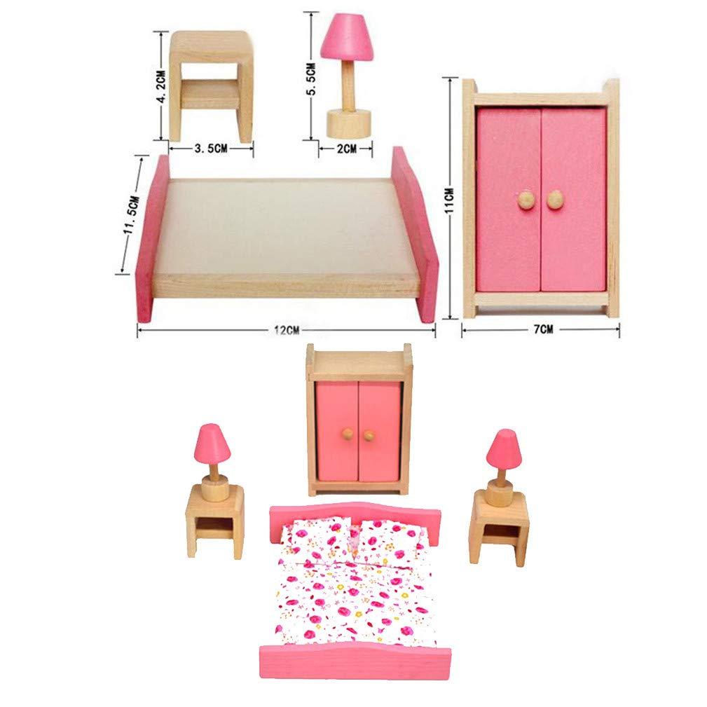 Amazon.com: Clearance! DDLmax 4 Set Pink Wooden Dollhouse ...