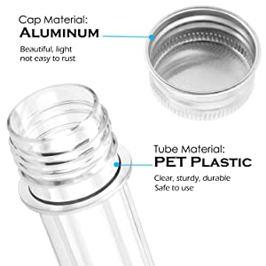 A+Selected 30 Pack 45 ML Clear Plastic Test Tubes with Caps, Bath Salt Containers, Gumball Candy Tubes, Candy Storage Plastic Vials for Party Favors Science Experiment Home Décor(25x140mm)