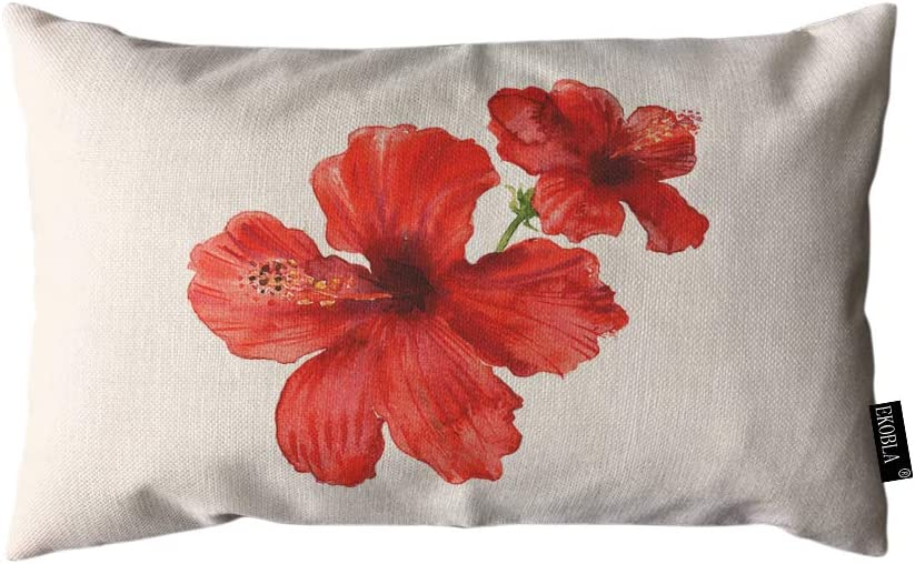 EKOBLA Throw Pillow Cover Hibiscus Flower Tropical Plants Watercolor Blooming Bright Nature Summer Red Rectangular Throw Pillow Covers for Couch Sofa Home Decor Cotton Linen 12x20 Inch