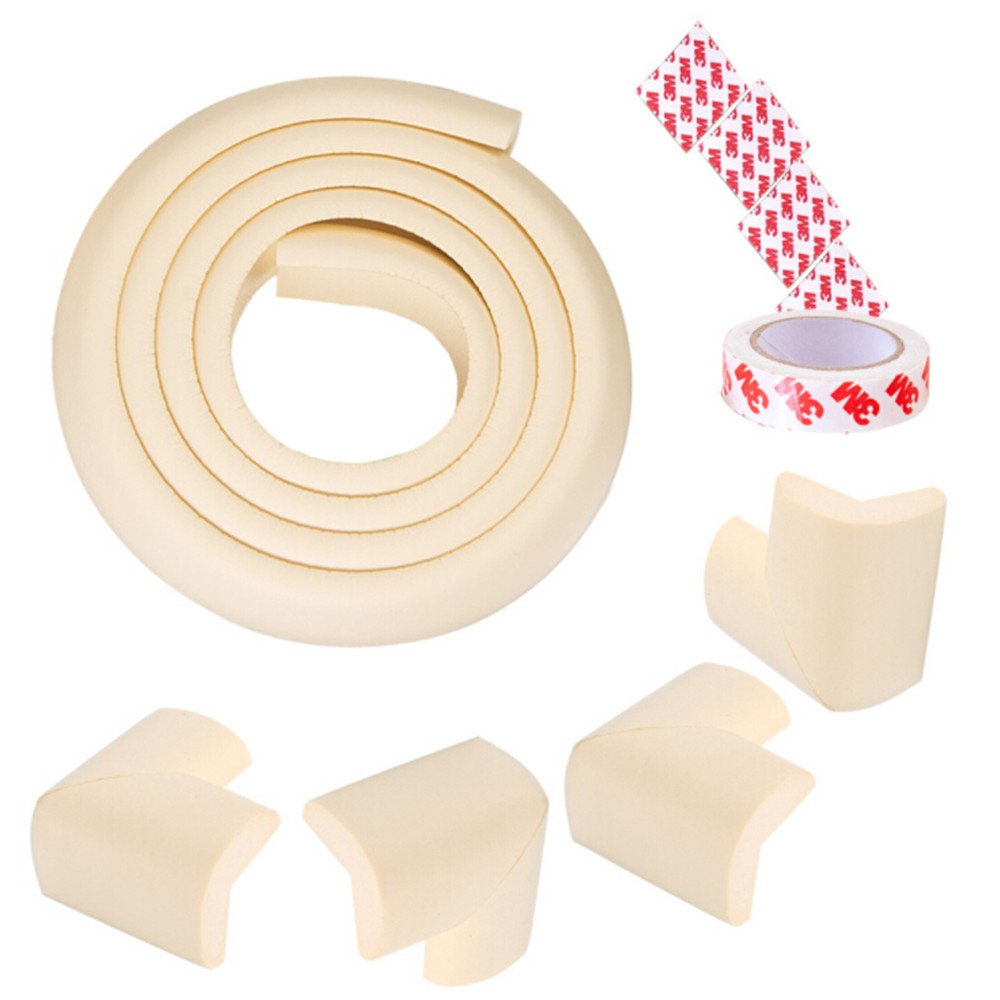 Baby Safety Profing Edge Corner Guards Set 6.5ft Edge Cushion+4 Corner Cushion Extra Thick (12 mm) Baby Foam Safety Toddler Protector Child Soft Non-Toxic Strip Softener Bumper Protector (Beige)