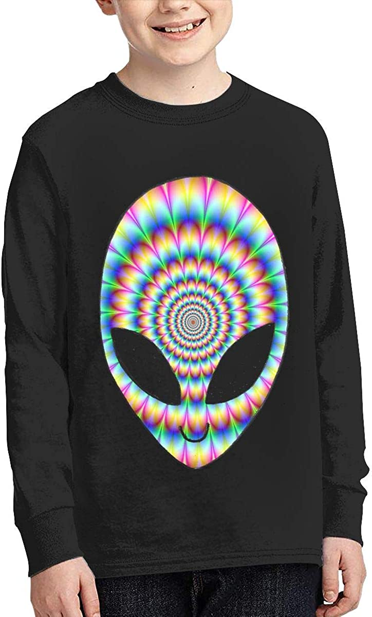 Teenagers Teen Girl Trippy Cool Alien Printed Long Sleeve 100/% Cotton T Shirts
