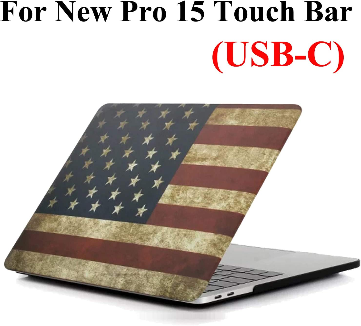 MacBook Pro 15 Inch Case A1990/A1707 (Release 2019/2018/2017/2016), iZi Way US Patriots Rubberized Hard Shell Cover for Apple Laptop Mac Pro 15 with Touch Bar & Retina Display - American Flag