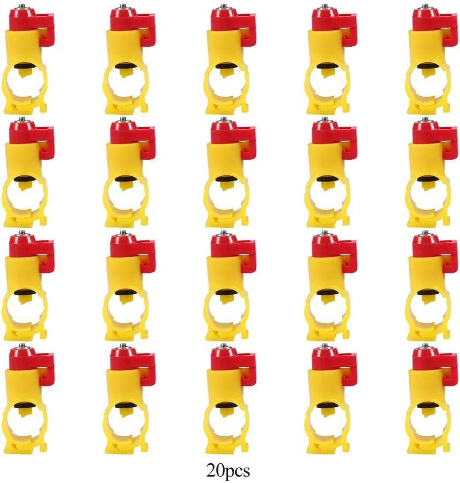 20mm//0.79in 20 Pcs//Pack Alimentador Autom/ático De Pollo Dispensador De Agua Bebida De Pollo Boquilla De Niple Alimentador De Pez/ón De Agua Bebedero De Pez/ón para Aves De Corral Gallina De Pato