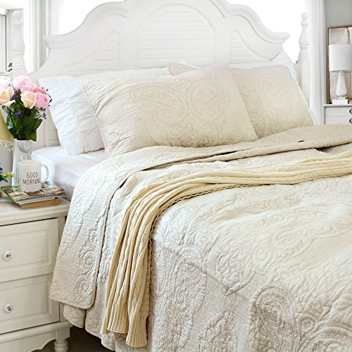 Brandream White Beige Vintage Floral Comforter Set Queen