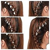 SUNSCSC Shell Hamsa Hand Fatima Cross Leaves Star Pendant Rings Set Hair Clip Headband Hair Accessories (All set 5 package)