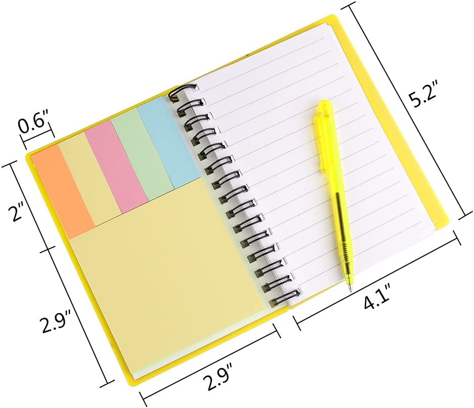 Black, Blue, Red, Green Page Marker Index Tabs Flags Coopay 4 Pieces Spiral Notebook Steno Pocket Notepad with Pen in Holder and Sticky Notes