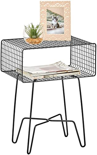 mDesign Modern Farmhouse Side End Table – Metal Grid Design – Open Storage Shelf Basket, Hairpin Legs – Sturdy Vintage, Rustic, Industrial Home Decor Accent Furniture for Living Room, Bedroom – Black