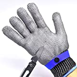 T.Face New Work Gloves Breathable Comfortable Safety Cut Proof Stab Resistant Stainless Steel Metal Mesh Gloves Anti-cut Gloves (Blue)
