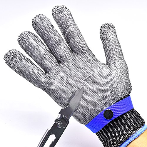 T.Face New Work Gloves Breathable Comfortable Safety Cut Proof Stab Resistant Stainless Steel Metal Mesh Gloves Anti-cut Gloves (Blue) by T.Face