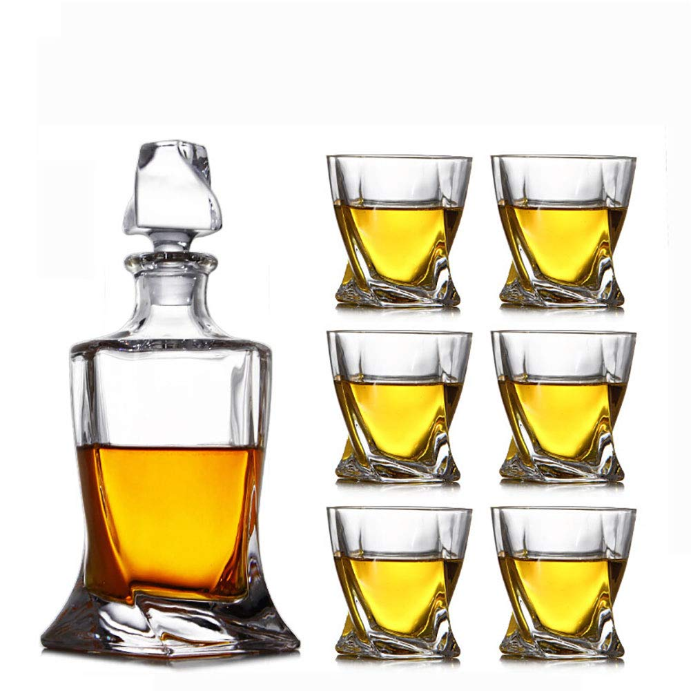 ZZKOKO Whiskey Decanter Set, 7-Piece Crystal Whiskey Glass Set Mens Gift, Premium Liquor Decanter with 6 Exquisite Cocktail Glasses for Rum, Scotch or Bourbon, Dishwasher Safe (S06)