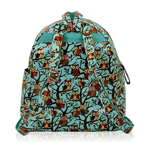 Xardi London - Bolso mochila  de Otra Piel para mujer mediano Blue Oilcloth Owl