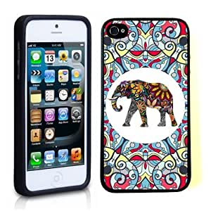 iPhone 5 5S Case ThinShell TPU Case Protective iPhone 5 5S Case Shawnex Tribal Floral Indian Elephant Art