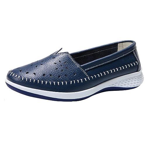 Zapatillas de Deporte para Mujer Otoño PAOLIAN Zapatos de Cuero Plataforma Escolares Cómodos Espadrilles Moda Baratos Rejilla Breathable Hueco Calzado de ...