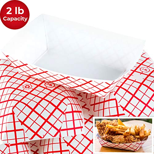 Heavy Duty, Grease Resistant 2 Lb Paper Food Trays 100 Pack. Recyclable, Coated Paperboard Basket Ideal for Festival, Carnival and Concession Stand Treats Like Fries, Ice Cream and Chicken - Tray Paper 2
