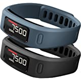 SKYLET 2PCS Banda di Sostituzione per Garmin Vivofit Replacement Bands with Metal Clasp (non Tracker) Taglia Larga Nero + Ardesia